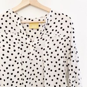 Anthropologie Black and White Dot Button Down